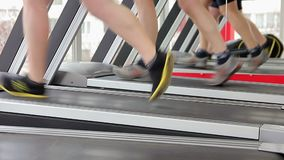 Men running on treadmill, doing toning exercises for leg muscles, healthy life. Stock footage stock footage