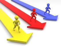 Men runningon arrows Stock Photos