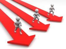Men runningon arrows Stock Images