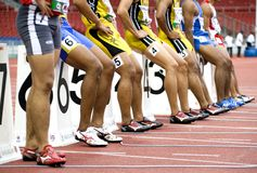 Men's 100 Meters Race Start Stock Photo