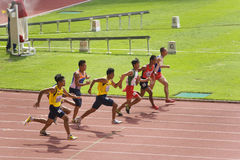 Men's 100 Meters for Visually Impaired Persons Stock Images