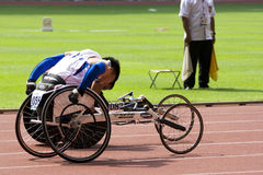 Men's 100 Meters Wheelchair Race Royalty Free Stock Image