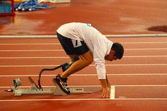 Men's 400m t44. The United States' Andrews Danny at the starting line in the final of the Men's 400m T44 at the Beijing 2008 Paralympic Games Tuesday Sept. 16 Royalty Free Stock Photography