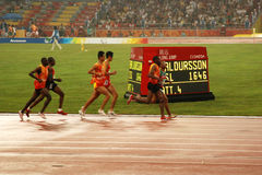 Men's 5,000m race. From right in blindfolds, Kenya's Henry Wanyoike, China's Zhang Zhen and Kenya's Francis Thuo Karanja take part in the final of the Men's 5 Royalty Free Stock Photo