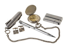 Men's Accessories 6. A close-up of the men's accessories: watch, knife, lighter, pen, cufflinks Royalty Free Stock Image