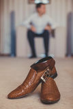 Men's accessories: belt and shoes. Royalty Free Stock Images