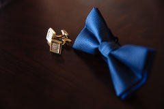 Men`s accessories. Bow-tie, cufflinks. Groom details Royalty Free Stock Photo