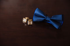 Men`s accessories. Bow-tie, cufflinks. Groom details Royalty Free Stock Photos