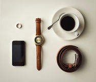 Men`s accessories, businessman accessories, set of cool men`s st Royalty Free Stock Photography