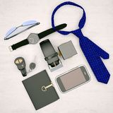 Men`s accessories  isolated on light wooden background. Stock Photography