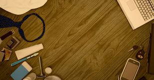 Men`s accessories  isolated on wooden background. Royalty Free Stock Photos