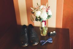 Men`s accessories with luxury shoes. Top view.  Stock Images
