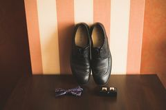 Men`s accessories with luxury shoes. Top view.  Stock Photo