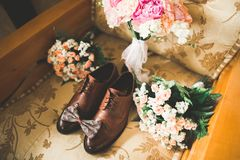 Men`s accessories with luxury shoes. Top view.  Royalty Free Stock Photos