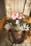 Men`s accessories with luxury shoes. Top view.  Royalty Free Stock Photography