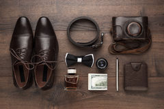 Men's accessories in order on the table royalty free stock photos
