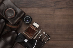 Men's accessories in order on the table royalty free stock images