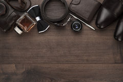 Men's accessories in order on the table Stock Images