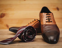 Men`s accessories. Shoes with tie Royalty Free Stock Image