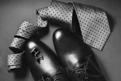 Men`s Accessories. Shoes with tie and cuff. Man`s style. Men`s Accessories. Shoes with tie and cuff Stock Photography