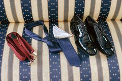 Men`s accessories -  shoes, tie, suspenders. 