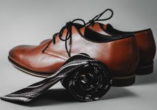 Stylish shoes with tie. Men`s accessories. Stylish shoes with tie Royalty Free Stock Images