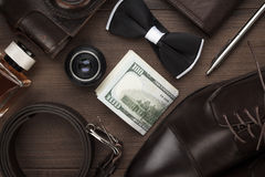 Men`s accessories on the table stock image