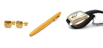 Men`s accessories: watch, pen, cuff links, watch. Close up of the men`s accessories: watch, pen, cuff links, watch isolated Stock Photography