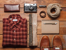 Men's accessories on the wooden table Stock Photo