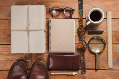 Men's accessories on the wooden table Royalty Free Stock Photography