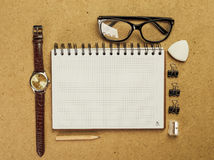 Men's accessory. Notepad watch glasses royalty free stock photography