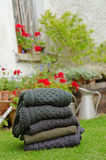 Men's Aran knit traditional jumpers outdoors royalty free stock image