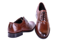 Men's autumn shoes with laces. Brown shoes for men business style Royalty Free Stock Images