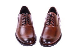 Men's autumn shoes with laces. Brown shoes for men business style Stock Image