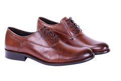 Men's autumn shoes with laces. Brown shoes for men business style Royalty Free Stock Photo