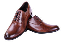 Men's autumn shoes with laces. Brown shoes for men business style on white Royalty Free Stock Photos