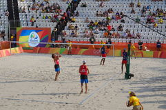 Men's beach volleyball competition in Rio2016 Royalty Free Stock Image