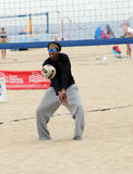 Men's beach volleyball practice Stock Image