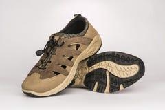 Men`s beige shoes. Summer men`s beige shoes Stock Photo
