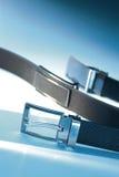 Men's belt. Men's leather belts on close up Stock Photo