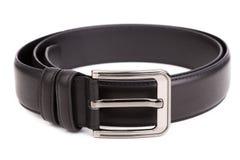 Men's belt. Black men's belt on a white background Royalty Free Stock Images