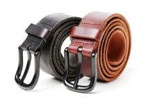 Men`s belt. Isolated on white background royalty free stock photos