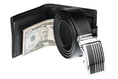 Men's belt, wallet with money Stock Photos