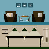 Men's and billiard room interiors  on stylish cover. Stock Photography