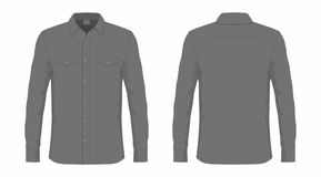 Men`s black dress shirt. Front and back views on white background Stock Images
