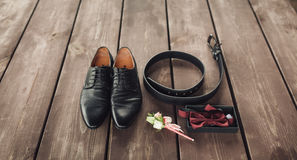Men's black leather dress shoes Stock Images
