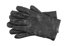 Men's black leather gloves Royalty Free Stock Photos