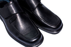 Men's black leather shoes. Royalty Free Stock Photography