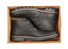 Men's Black Leather Shoes In Box Stock Photo