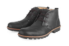 Men's Black Leather Shoes Stock Image